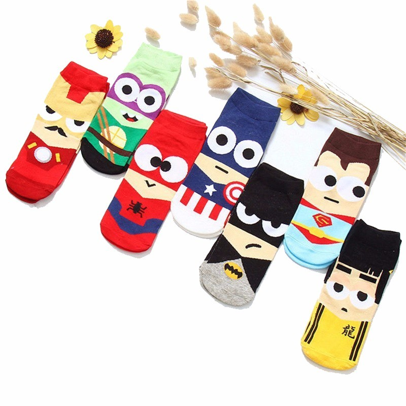 Adult Hero Bruce Lee Superman Character Invisible Cotton Socks Cartoon Pattern Happy Socks Men Women Christmas Gift