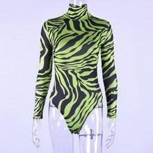 2019 New Fashion Zebra Print Turtleneck Long Sleeve Bodysuit Sexy Slim Body Jumpsuit High Street Women Casual Bodysuits