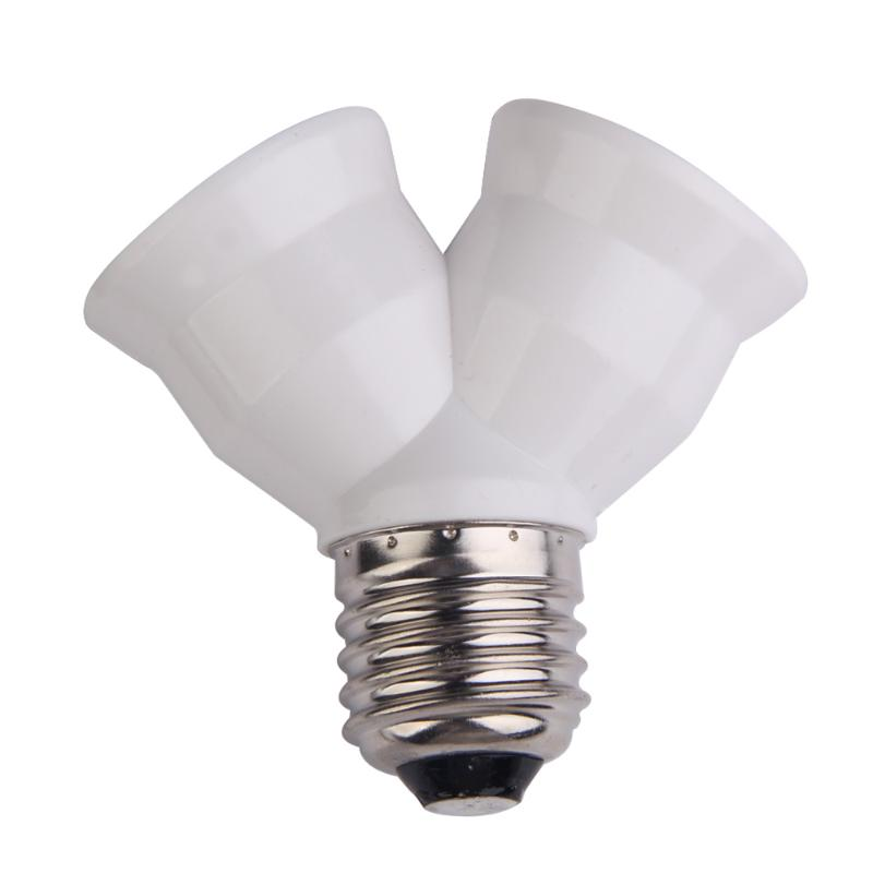2 In 1 E27 Y Shape Lamp Base  Fireproof Material Holder Converter Socket Light Bulb Splitter Adapter Light Bulb Base Holder