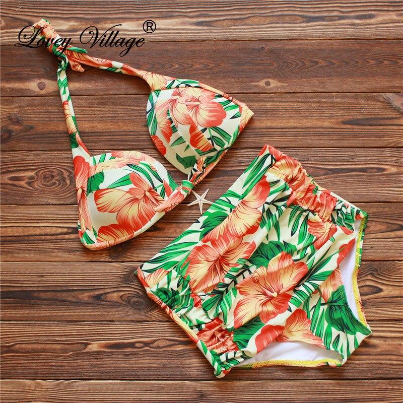 2019 Kvinnor RETRO Pinup Badkläder Rockabilly Tappning High Waisted Badkläder Baddräkt Push Up Baddräkt Beachwear Bikini Set