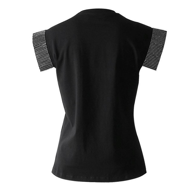 TWOTWINSTYLE Casual T-shirts Women O Neck Short Sleeve Heavy Diamonds Patchwork Black Tops Female 2019 Summer Fashion Tide 1