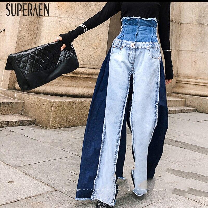 SuperAen 2019 New Fashion Women Jeans Wild Casual Fashion Wide leg Pants Female High Waist Spring