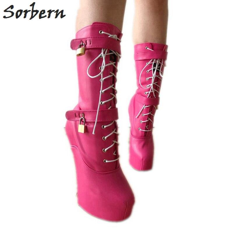 Sorbern на заказ широкие телячья кожа женские ботинки Размер 8 копыта Heelless обувь Женская Размер 11 роза Косплей обувь БДСМ унисекс ботинки на выс