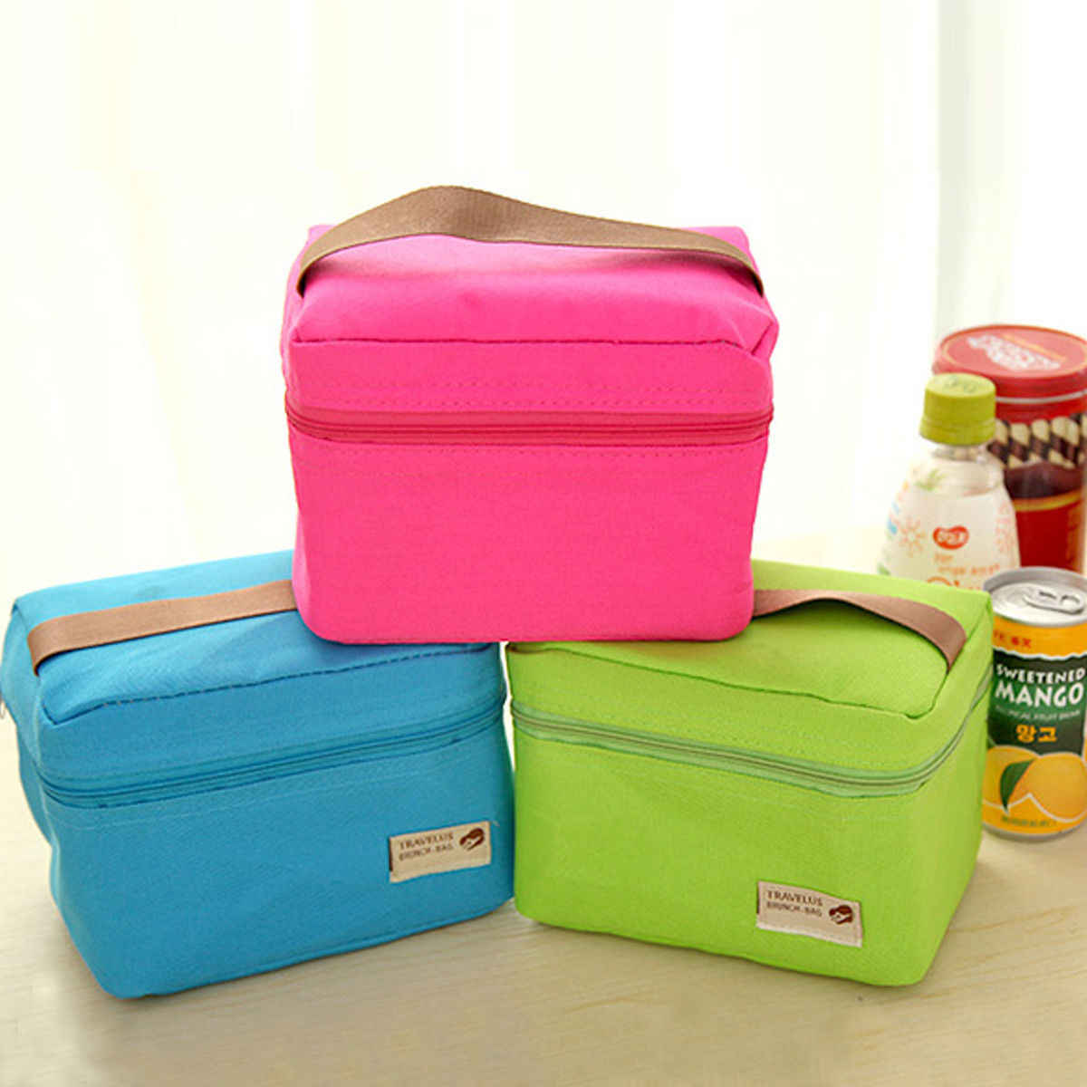 Portable Thermal Travel Picnic Lunch Box Storage Bag Waterproof Picnic Carry Tote Lunchbags Green Blue Gray Rose Red