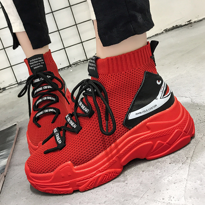 2019 Red Shark Sneakers Women Men High Top Breathable Flat Platform Shoes Women Casual Socks Shoes Chunky Sneakers Men And Women