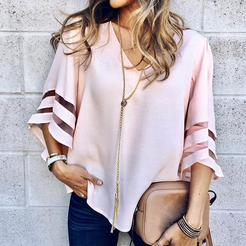 Gentillove 2019 Women V Neck Flared Sleeves Blouse Female Shirt Casual Loose Mesh Patchwork Shirts Plus Size Tops Femme blusas(China)