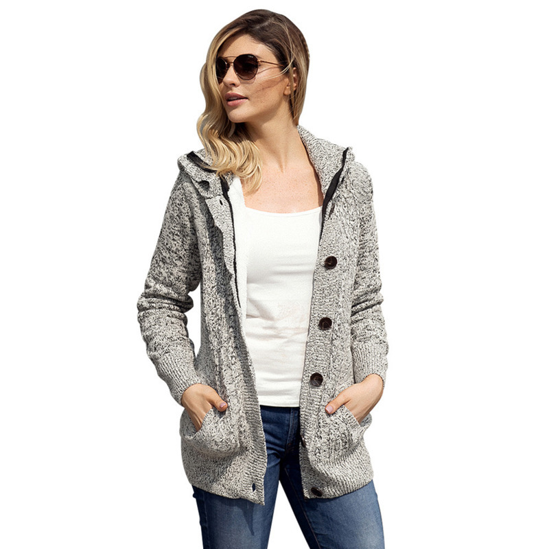 Autumn Winter Womens Knitted Cardigans Button Loose Sweater Velvet Hooded Jacket Cardigan Crochet Casual Coat Tops 6Color