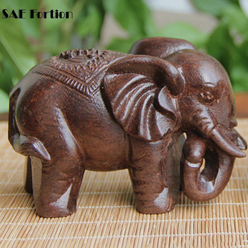 Figurines Fortion Mineral-Crystal Wooden Elephant Carved Statue-For-Decor Mini Animals
