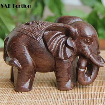 Elephant Figurines Craft Carved Natural Wooden
