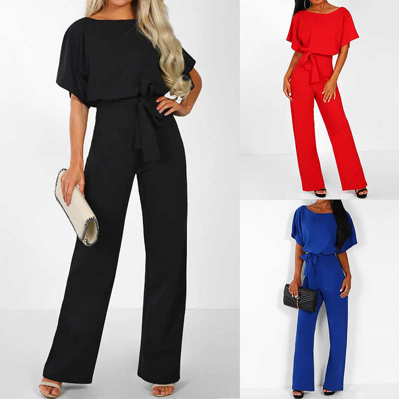 689622af703 ... Jumpsuits For Woman 2019 Fashion Women Rompers Party Clubwear Lace-up Playsuits  Women Wide Leg