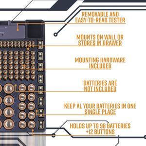 Image 5 - Ffyy organizador de armazenamento de bateria, suporte com testador de bateria, caixa de prateleira, incluindo verificador de bateria para aaa aa c