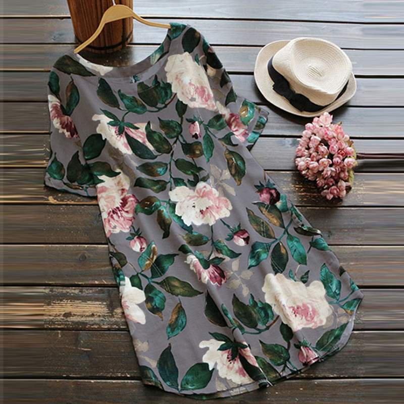2019 Plus Size ZANZEA Summer Floral Printed Dress Women Casual O Neck Short Sleeve Sundress Vintage Cotton Linen Loose Vestido