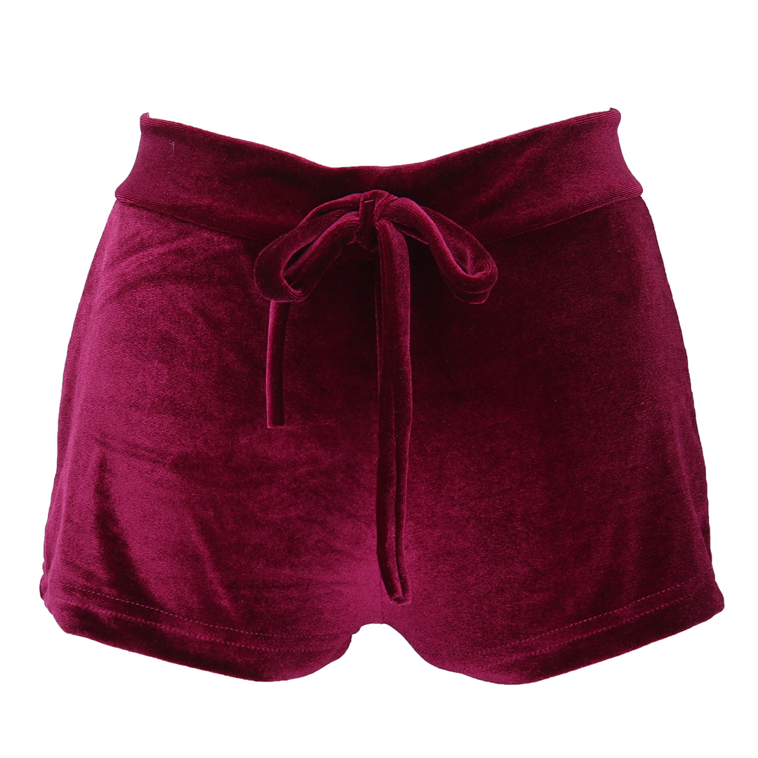 Womens Ladies Retro Velvet Pretty Little Thing Pink Wine Red Crushed Runner Fashion Shorts Hot