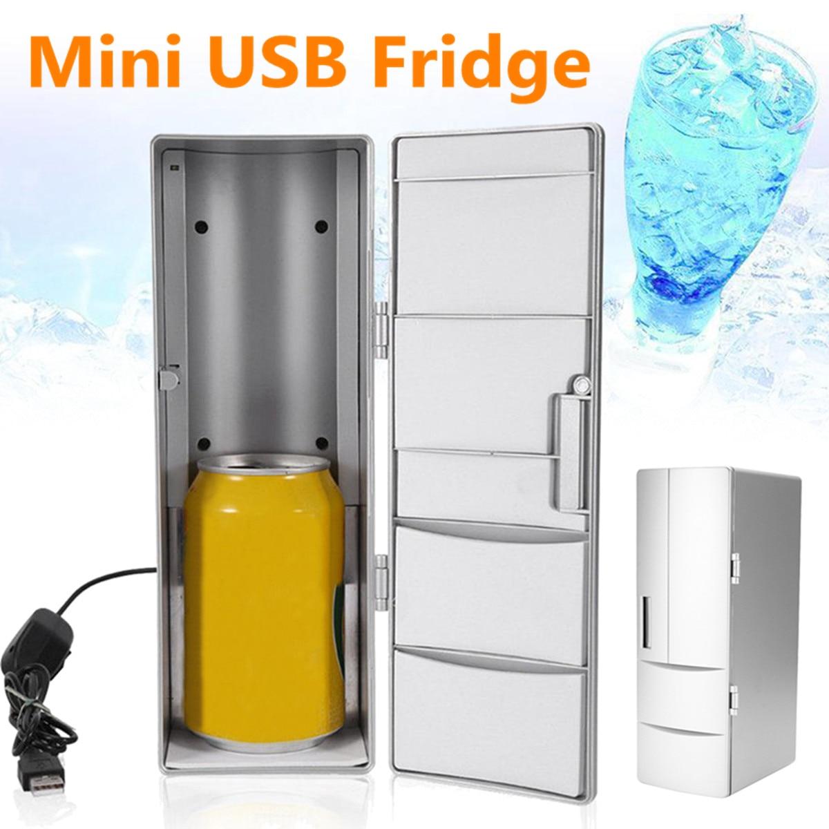 10W Mini USB Fridge Freezer Cans Drink Beer Cooler Warmer ABS Travel  Refrigerator Icebox Car Office Use Portable Refrigerator