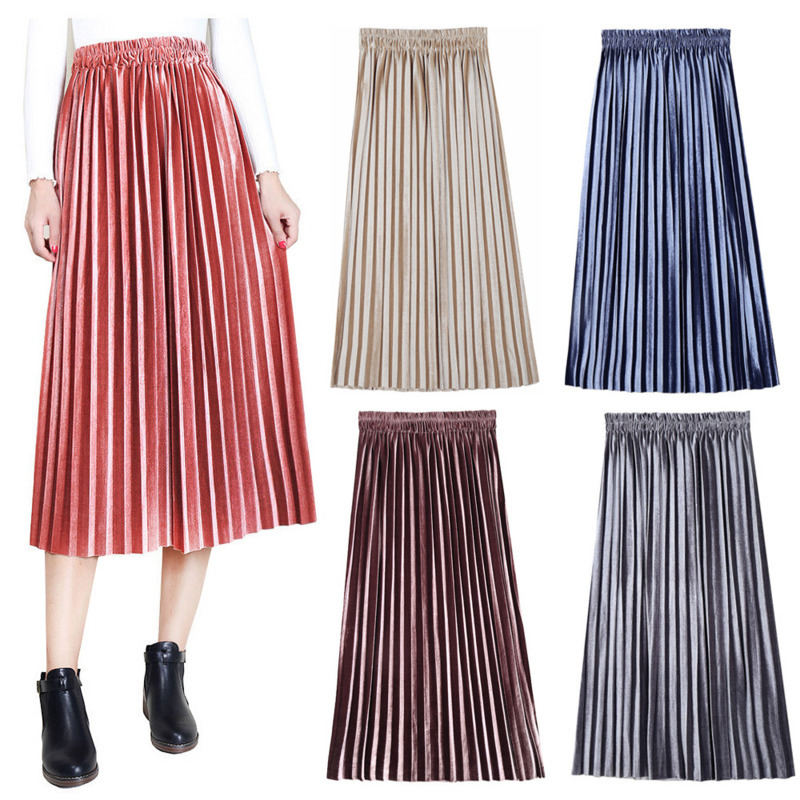 Autumn Winter New Style Plus Size Womens Folds Half-length Pleated Skirt Slim Large Swing Dress High Waist Skirts Sexy Clothes