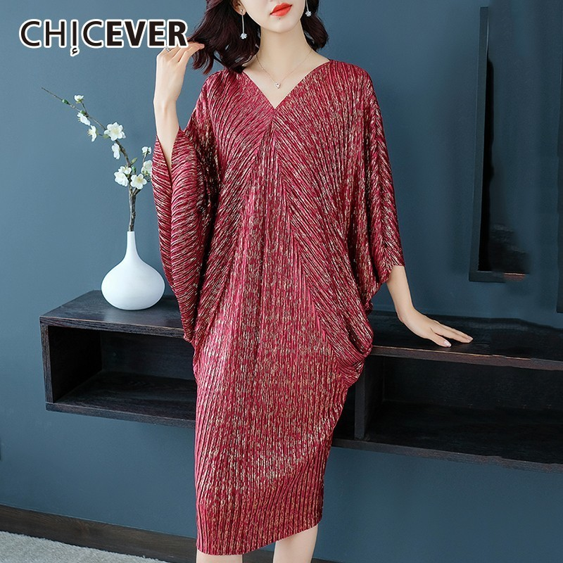 6c4b086aafae2 CHICEVER 2019 Spring Autumn Women's Dresses V Neck Batwing Sleeve Loose  Oversize Midi Dress Fashion Casual Clothes New