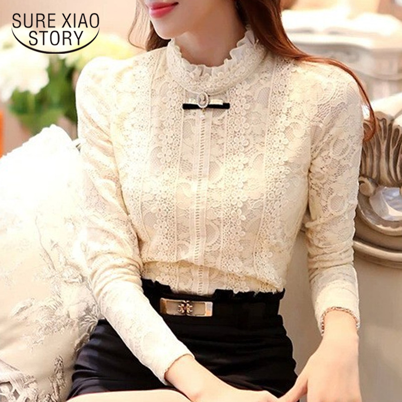 2018 new high quality women fashion lace   blouse     shirts   autumn and winter Plus thick velvet warm Bottoming   shirt   Blusas 999 20