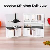 2 Sets 1:12 Dollhouse Miniature Furniture Wooden Kitchen Cabinet Table Set Vintage Mini Education Toys Toys Kids Children Gifts