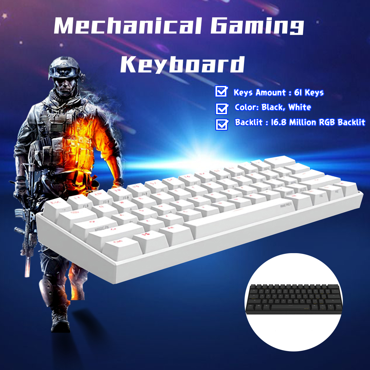[Kailh BOX Switch]Obins Anne Pro 2 60% NKRO bluetooth 4.0 Type-C RGB Mechanical Gaming Keyboard[Kailh BOX Switch]Obins Anne Pro 2 60% NKRO bluetooth 4.0 Type-C RGB Mechanical Gaming Keyboard