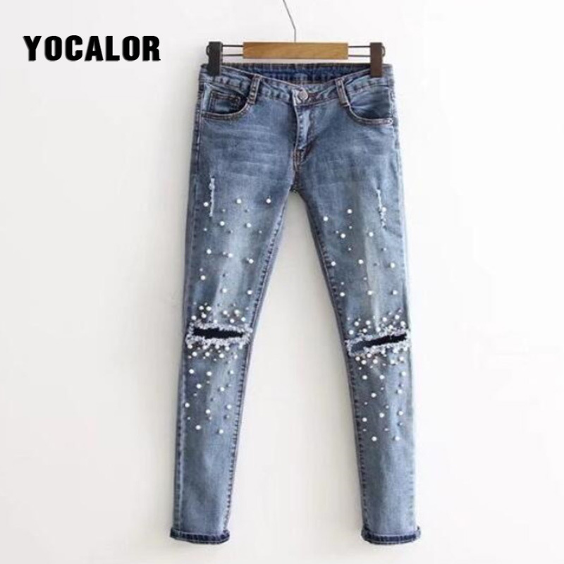 YOCALOR Pearl Holes High Waist Trousers Skinny Palazzo   Pants     Capris   Female Pencil Women Feet Bottoms Denim Female Pantalon Femme