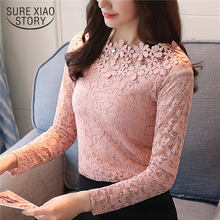 2018 New arrival autumn women blouse O-collar long sleeved lace blouse hollow out bottoming women top slim fit blusa 1105 40