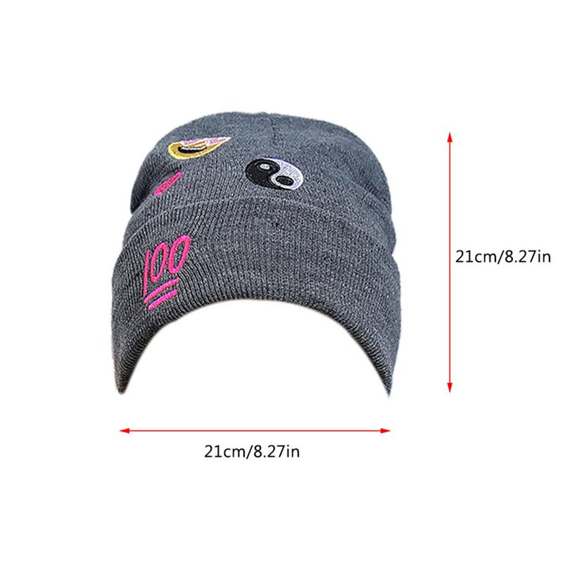 Female Hat Love Expression Pattern 100 Embroidered Knitted Yarn Hat Dark Grey Leisure Tai Chi Diagram Personality Cap
