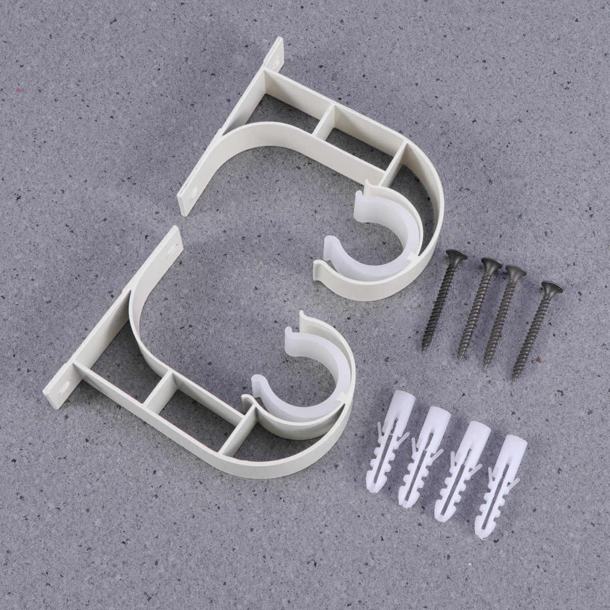 2 Pcs Aluminium Alloy Ceiling Curtain Rod Holder Rod Brackets For Bedroom Living Room (White)