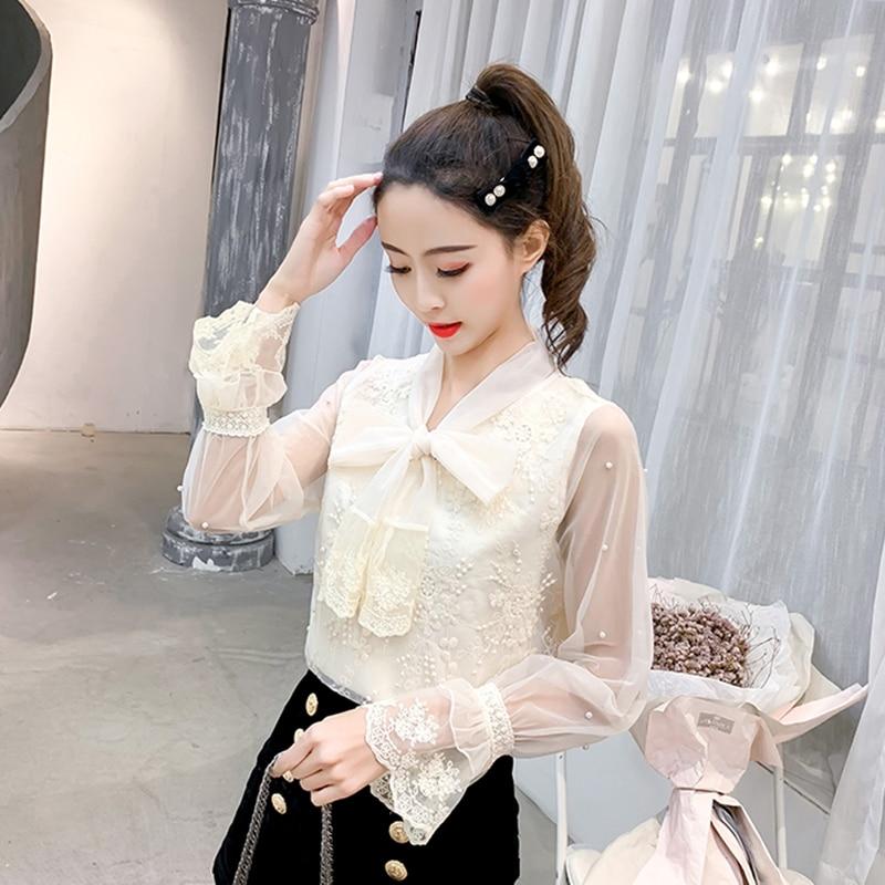 Nuevo Blusa Cordón Apricot Bluas Arco Primavera white Y Manga Hueco De Tops Mujer Femenina Encaje Mujeres Ropa Camisas Corta Blusas rPxfwqrR