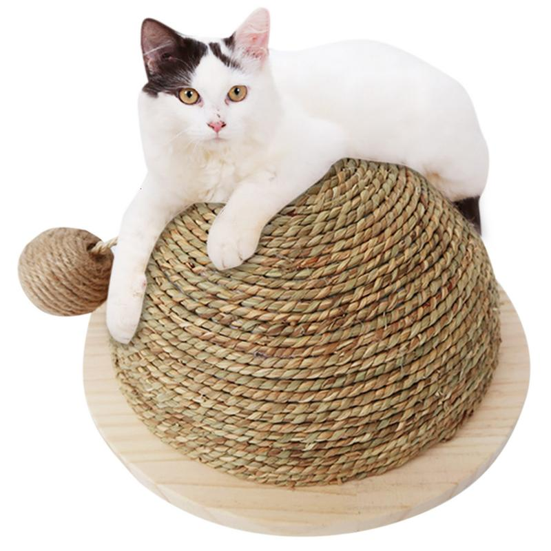 Funny Cat Toy Wooden Bottom Plate Straw Semi-circular Grinding Claw Climbing Frame Cat Toy Scratch Board With Sisal Hanging Ball