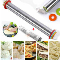 17 inch Adjustable Stainless Steel Rolling Pin With 4 Pcs Removable Rings Dough for Dough Pizza Pastry Pie Cookies Bakeware Tool