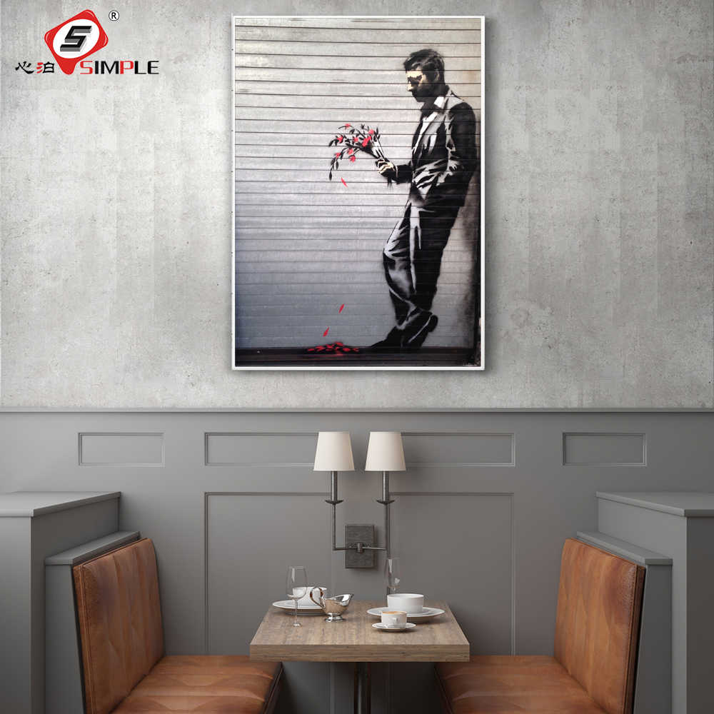 Simple Banksy Style Sad Man with Flowers Waiting In Vain Painting Street Art Poster and Prints Graffiti Home Decor Unframed