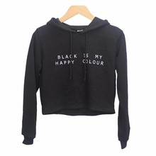 2019 new spring fashion Hoodies BLACK IS MY HAPPY COLOUR Letters Print Long sleeve Casual  Womens Crop Tops Short Hoodie