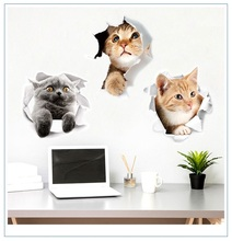 New 3D Cute Kitten Closestool Sticker Kids Bedroom Wall Deocration Cat Cartoon Fridge