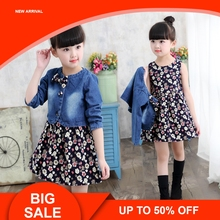 Baby Clothing Spring/Autumn Explosion Models Girls Suit Fashion Denim Jacket + Flower Dress Two-Piece Sweet Princess