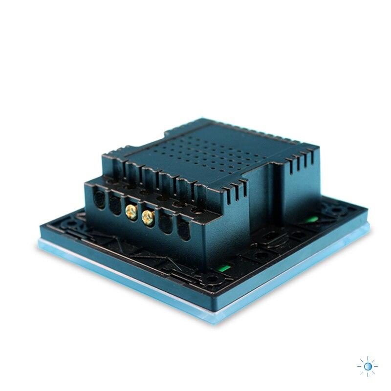 ROYAUME-UNI Standard 1 Gang 1 Voies Télécommande Gradateur Tactile Interrupteur À Distance Lumière Interrupteur Mural Noir Blanc Couleur Or Trempé panneau de verre - 5