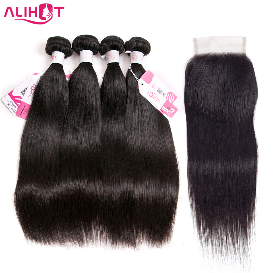 Ali Hot Brazilian Straight Hair 4 Bundles With Closure 100 Human Hair Bundles With Closure Non