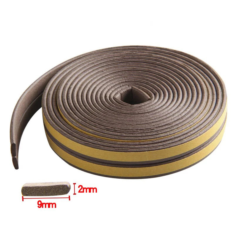 9*2mm Foam Draught Excluder Weather Seal Strip Insulation Door Window Tape 5M