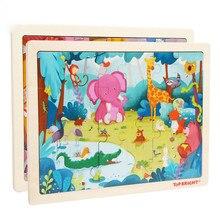 24Pcs Forest Animals Wooden Puzzle Elephant Giraffe Educational Developmental Children Training Toys Intelligence Learning
