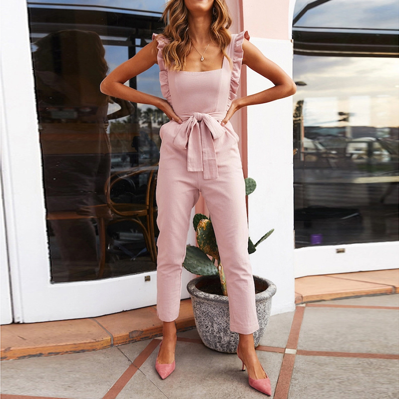 2019 Fashion Women Casual Sleeveless   Jumpsuits   Linen Shirred Frill Elegant Rompers   Jumpsuits   Long Harem Pants Holiday Overalls