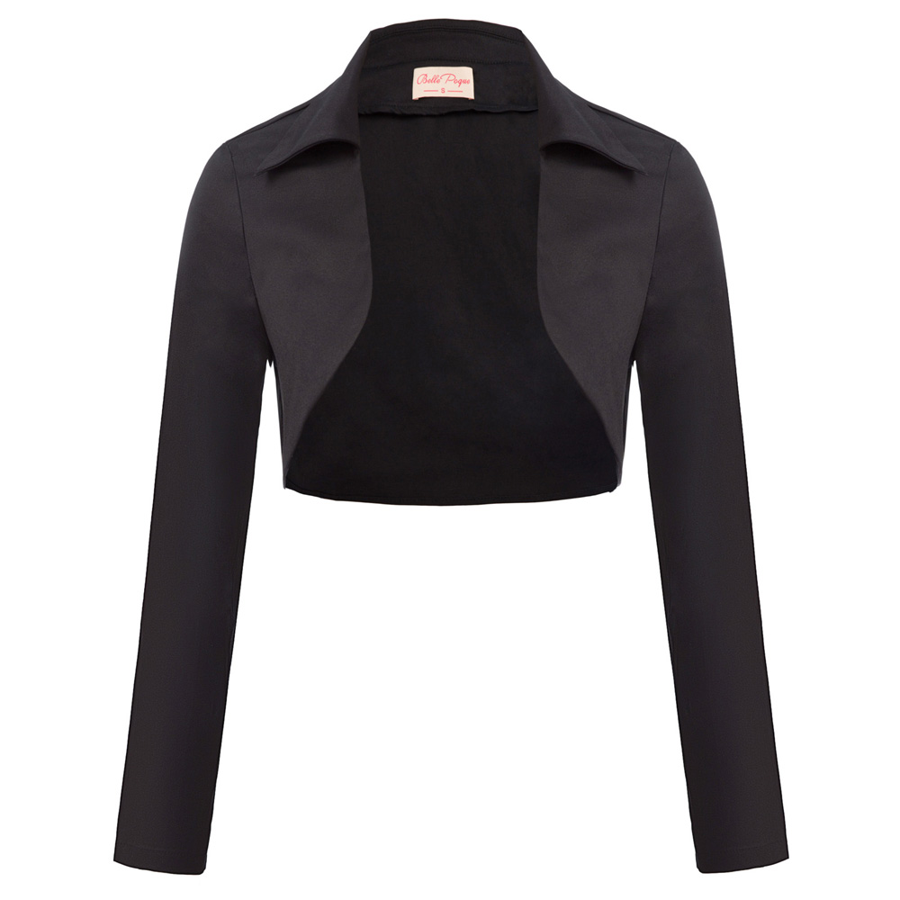 Women's turn down neck black white classic gothic jacket Retro Vintage Long Sleeve Lapel Collar Open Front Cotton Shrug Bolero