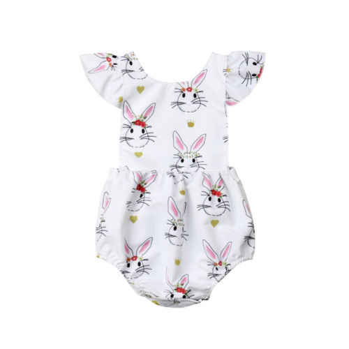 1e6bcf67848a Easter Infant Newborn Baby Girls Bunny Print Ruffles Sleeve Romper Sunsuit  Playsuit Outfit Set