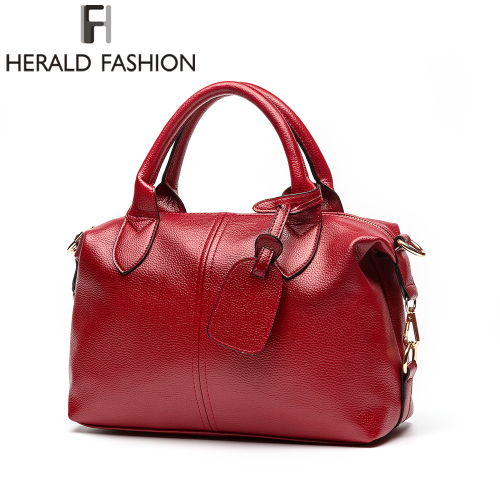 Herald Fashion Women Handbag Quality Soft Leather Solid Top-Handle Bag Female Shoulder Bag Causal Large Capacity Lady's Totes genuine leather female handbag autumn bag large size women shoulder bag daily fashion solid women bag causal female bag