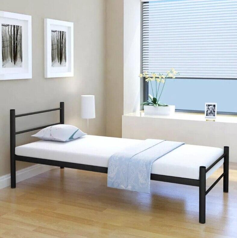VidaXL Modern Simple Bed Frame Metal Black Iron Art Sheet Person Powder-Coated Frame High-Quality Mattress 90x200 CmVidaXL Modern Simple Bed Frame Metal Black Iron Art Sheet Person Powder-Coated Frame High-Quality Mattress 90x200 Cm