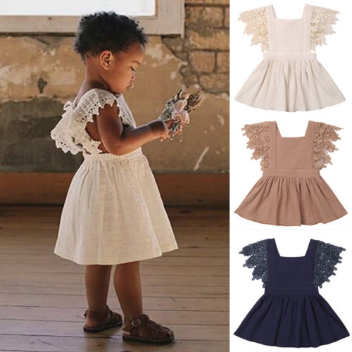 Lurryly Infant Toddler Ruffle Casual Sleeveless Dress Summer Outfit Princess Dress Clothes