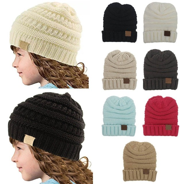 9f5066396c1f4 5pcs Wholesale Fashion Winter Hats For Kids Winter Knitted CC Trendy Hats  Babies Knitting Beanie Kids Warm Caps Children Casual