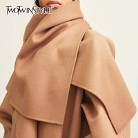 TWOTWINSTYLE Wool Women's Scarf Warm Long Neck Shawl Black Scarves For Women Casual Fashion Autumn Winter 2018 New