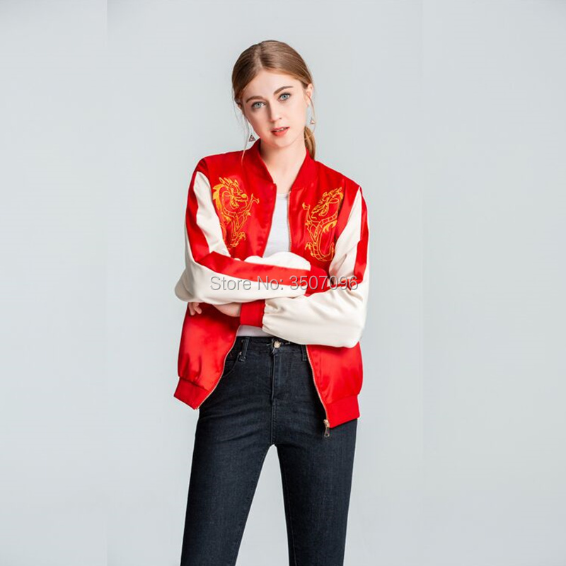 US Stock Mulan Embroidery Jacket Same Style Ralph Breaks The Internet Mushu Dragon Cosplay Jackets Women Daily Coat Casual Tops