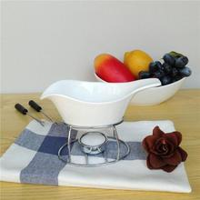 Чисто белый керамический шоколадный горшок набор сыра плавления высокая термостойкость мороженое горячий горшок кухонный инструмент для дома