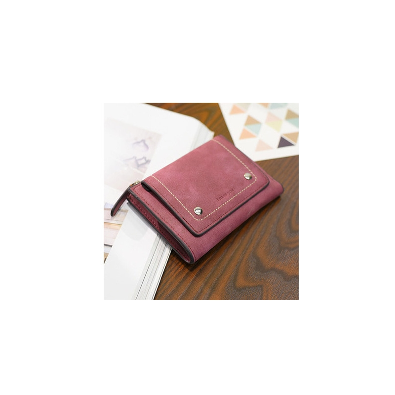 Vintage Scrub Multifunctional Ladies Wallet Womens Short Japanese And Korean Two Folding Money Student Coin Purse