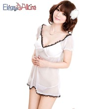 E&A Women Lingerie Set 2pcs Sexy Babydoll G-string Sets Erotic Nightdress Female Porno Open Crotch Intimate Sex Costume